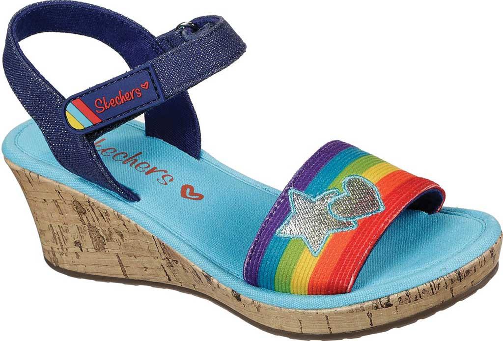 Girls' Skechers Tikis Toe-Tally Sweet Wedge Sandal, Blue/Multi, large, image 1