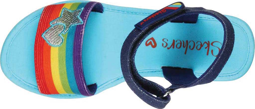 Girls' Skechers Tikis Toe-Tally Sweet Wedge Sandal, Blue/Multi, large, image 4