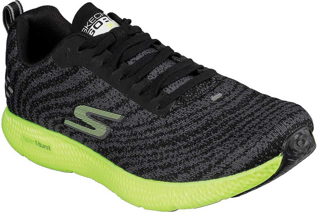 Men's Skechers GOrun 7+ Sneaker, Black/Lime, large, image 1