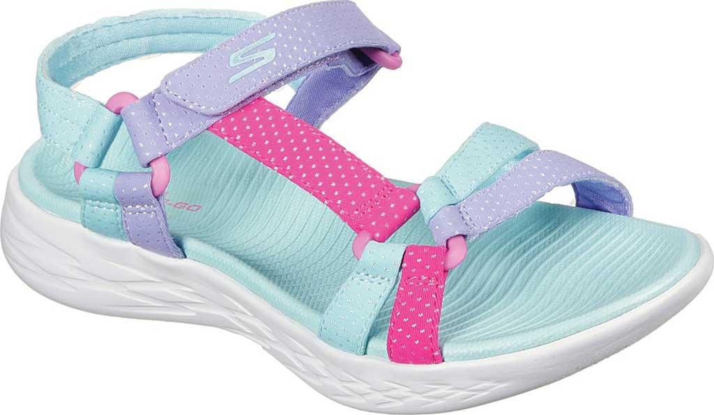 Girls' Skechers On the GO 600 Summer Sense Sport Sandal, Aqua, large, image 1