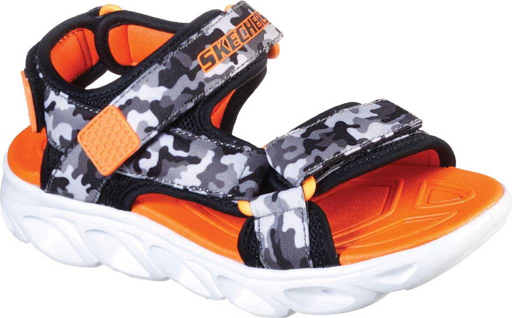 Boys' Skechers S Lights Hypno-Splash Sun Breaks Sport Sandal, Black/Gray/Orange, large, image 1
