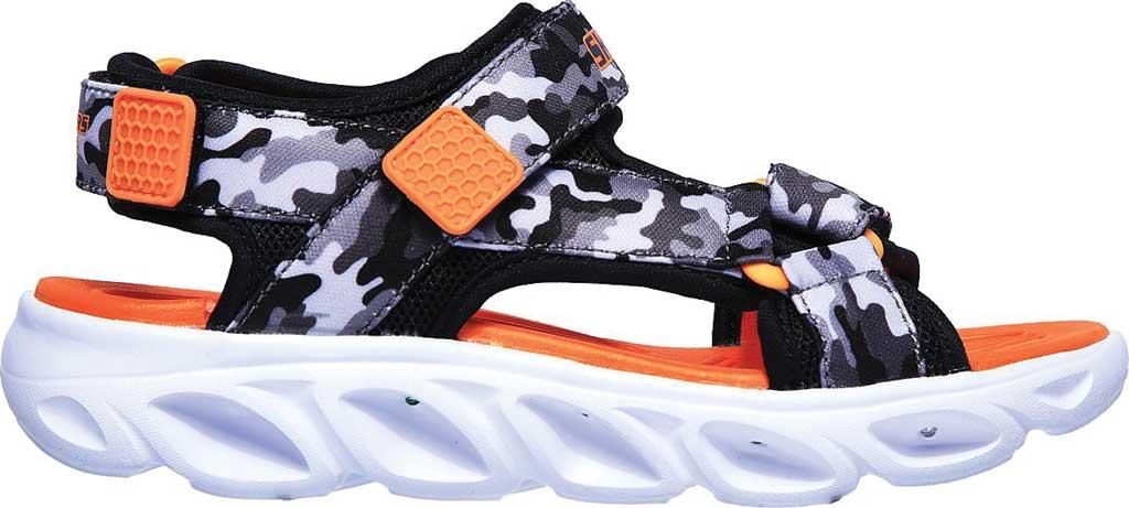 Boys' Skechers S Lights Hypno-Splash Sun Breaks Sport Sandal, Black/Gray/Orange, large, image 2