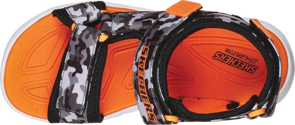 Boys' Skechers S Lights Hypno-Splash Sun Breaks Sport Sandal, Black/Gray/Orange, large, image 4