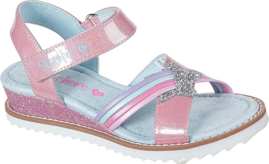Girls' Skechers Desert Kiss Rainbow Spark Wedge Sandal, Pink, large, image 1