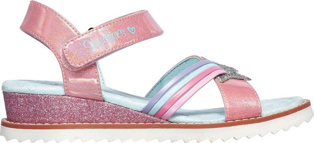 Girls' Skechers Desert Kiss Rainbow Spark Wedge Sandal, Pink, large, image 2