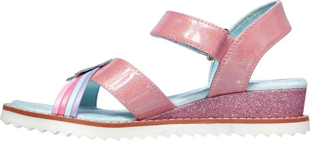 Girls' Skechers Desert Kiss Rainbow Spark Wedge Sandal, Pink, large, image 3