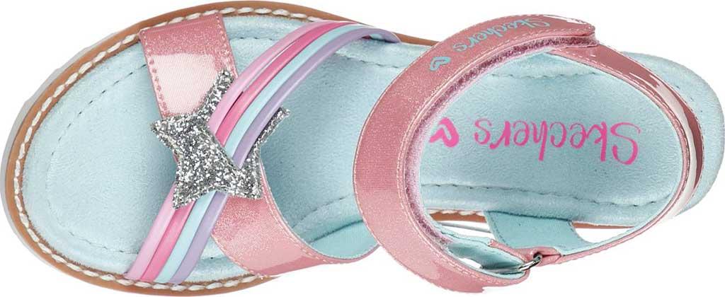 Girls' Skechers Desert Kiss Rainbow Spark Wedge Sandal, Pink, large, image 4