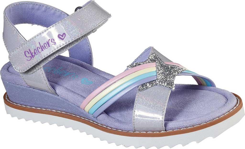 Girls' Skechers Desert Kiss Rainbow Spark Wedge Sandal, Lavender, large, image 1