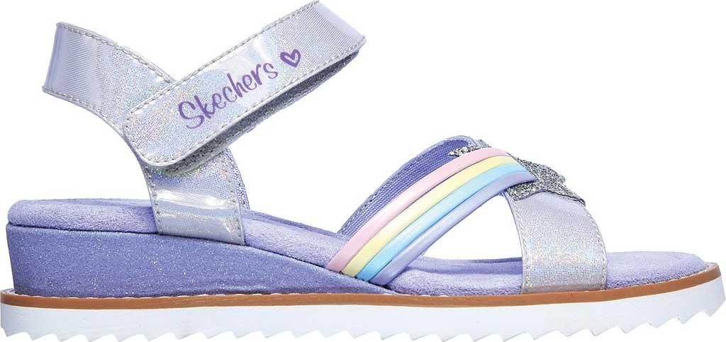 Girls' Skechers Desert Kiss Rainbow Spark Wedge Sandal, Lavender, large, image 2