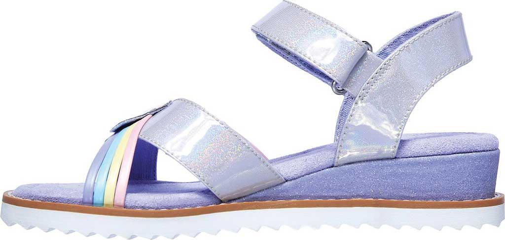 Girls' Skechers Desert Kiss Rainbow Spark Wedge Sandal, Lavender, large, image 3