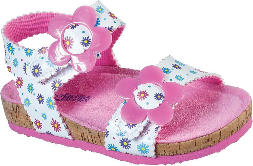 Infant Girls' Skechers Granola Wild Daisy Ankle Strap Sandal, White/Multi, large, image 1