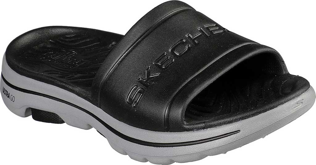Men's Skechers Foamies GOwalk 5 Surf's Out Slide, Black/Gray, large, image 1