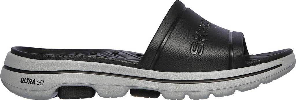 Men's Skechers Foamies GOwalk 5 Surf's Out Slide, Black/Gray, large, image 2