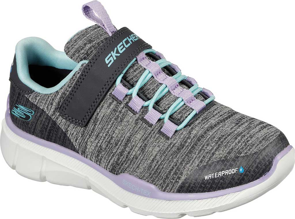 Girls' Skechers Relaxed Fit Equalizer 3.0 Mbrace Sneaker, Charcoal/Aqua, large, image 1