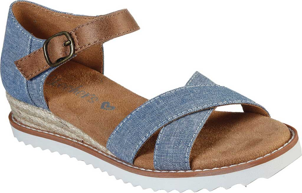 Girls' Skechers Lil BOBS Desert Kiss Humble Horizon Wedge Sandal, Denim, large, image 1