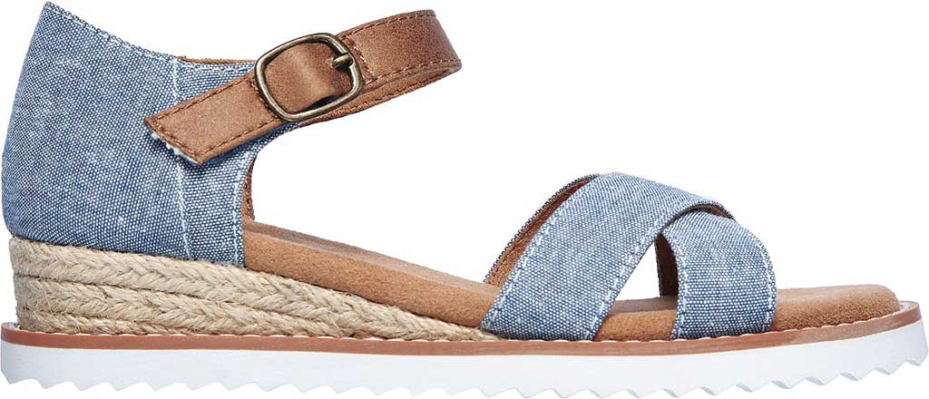 Girls' Skechers Lil BOBS Desert Kiss Humble Horizon Wedge Sandal, Denim, large, image 2