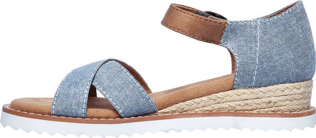 Girls' Skechers Lil BOBS Desert Kiss Humble Horizon Wedge Sandal, Denim, large, image 3