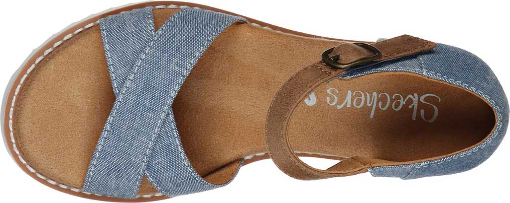 Girls' Skechers Lil BOBS Desert Kiss Humble Horizon Wedge Sandal, Denim, large, image 4