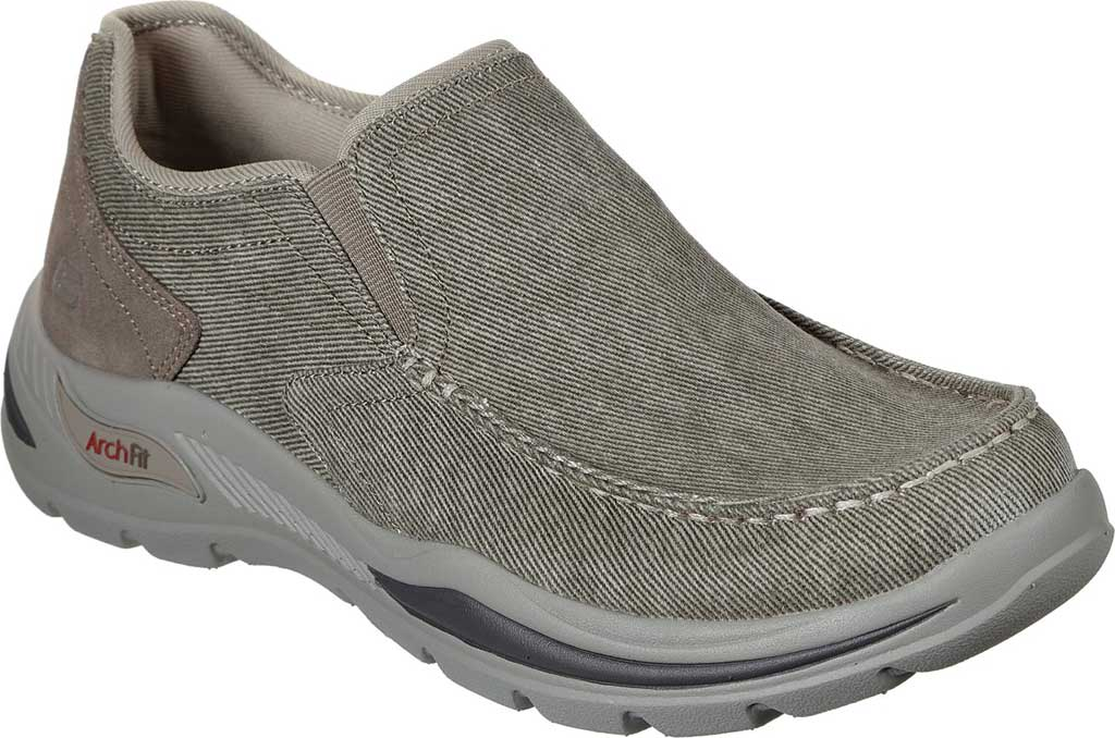 Men's Skechers Arch Fit Motley Rolens Moc Toe Slip On, Tan, large, image 1