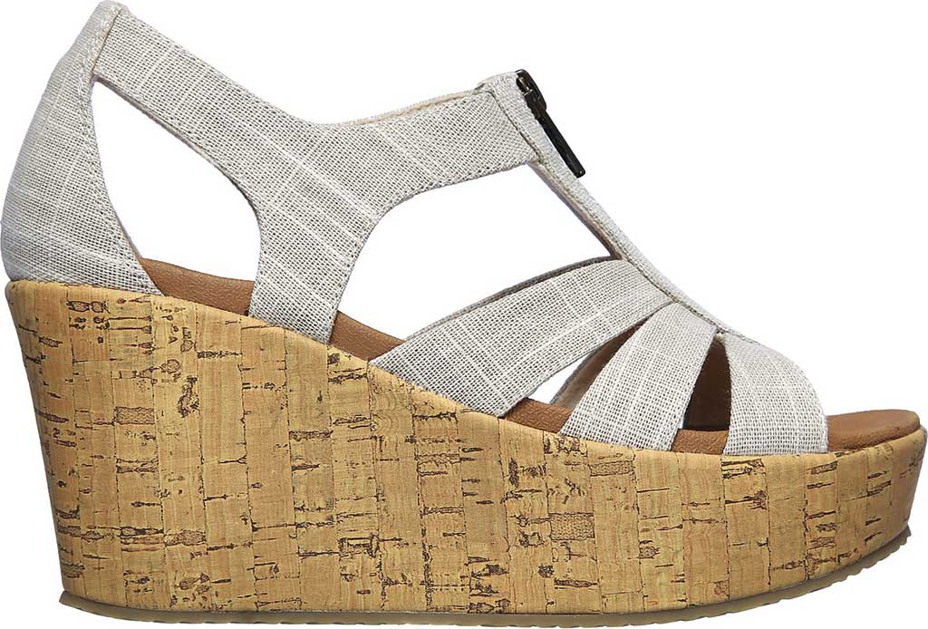 Women's Skechers Brit Living Heights Wedge Sandal, Natural, large, image 2