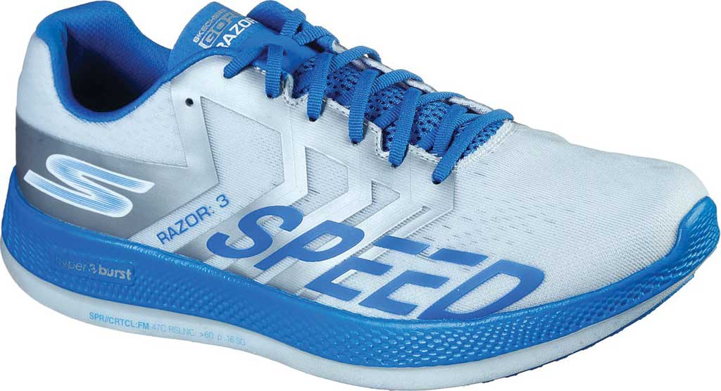 Men's Skechers GOrun Razor 3 Hyper Running Sneaker, White/Blue, large, image 1