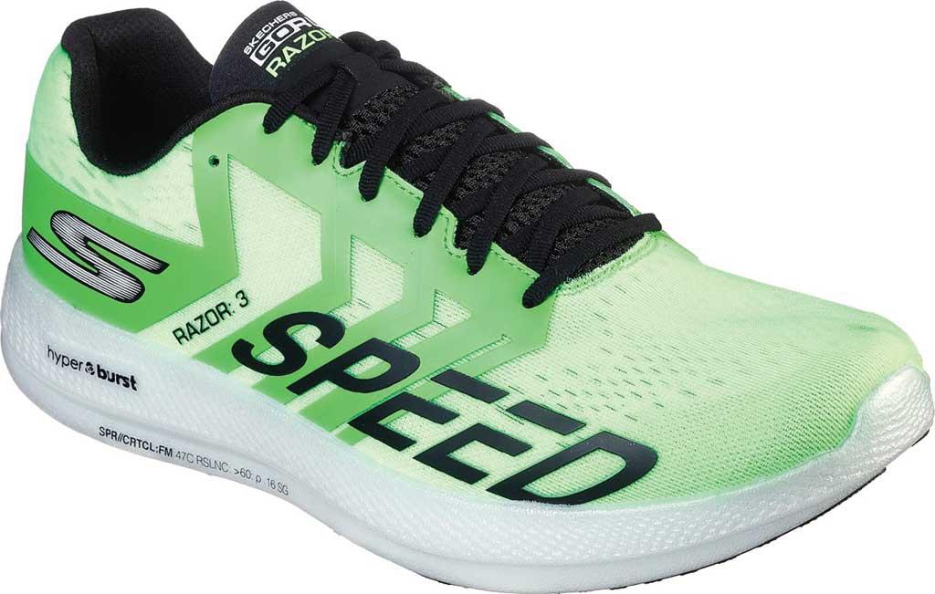Men's Skechers GOrun Razor 3 Hyper Running Sneaker, Lime/Black, large, image 1