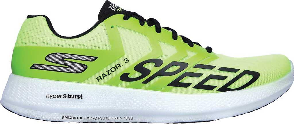 Men's Skechers GOrun Razor 3 Hyper Running Sneaker, Lime/Black, large, image 2