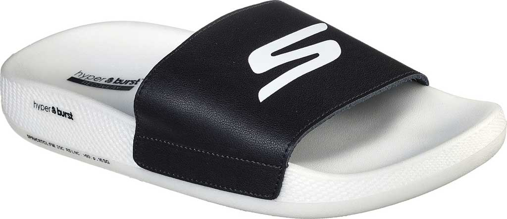 Men's Skechers Hyper Slide, Black/White, large, image 1