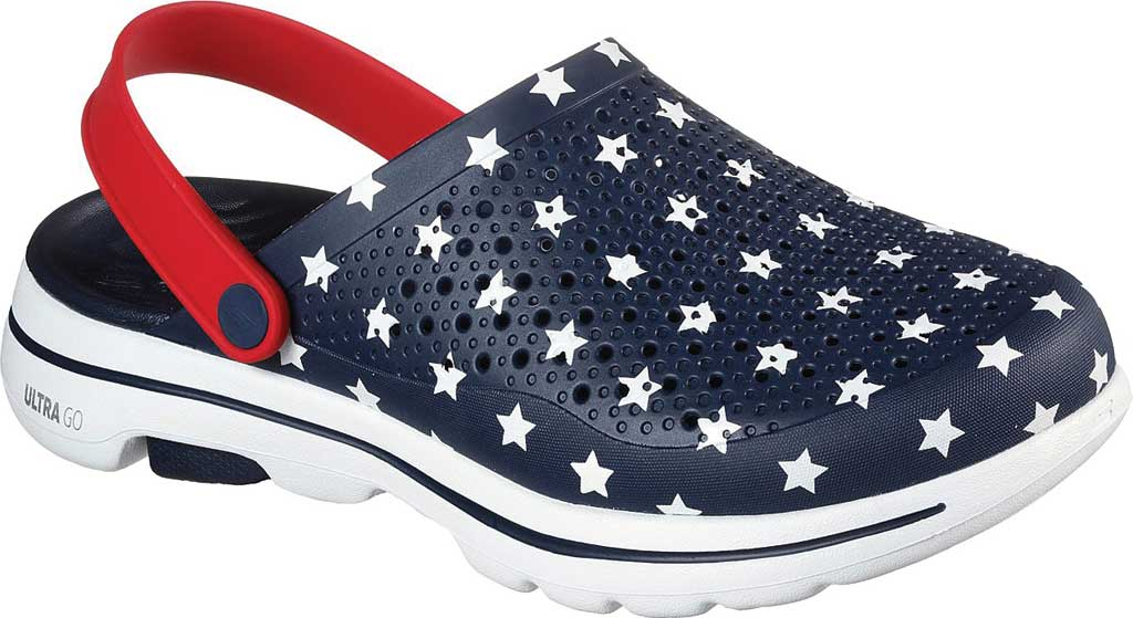 Men's Skechers Foamies GOwalk 5 Stars and Stripes Clog, Navy/Red, large, image 1