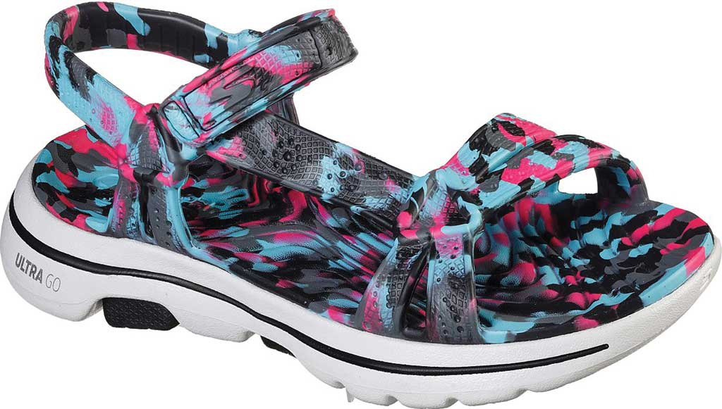 Women's Skechers Foamies GOwalk 5 Riptide Sandal, Black/Multi, large, image 1