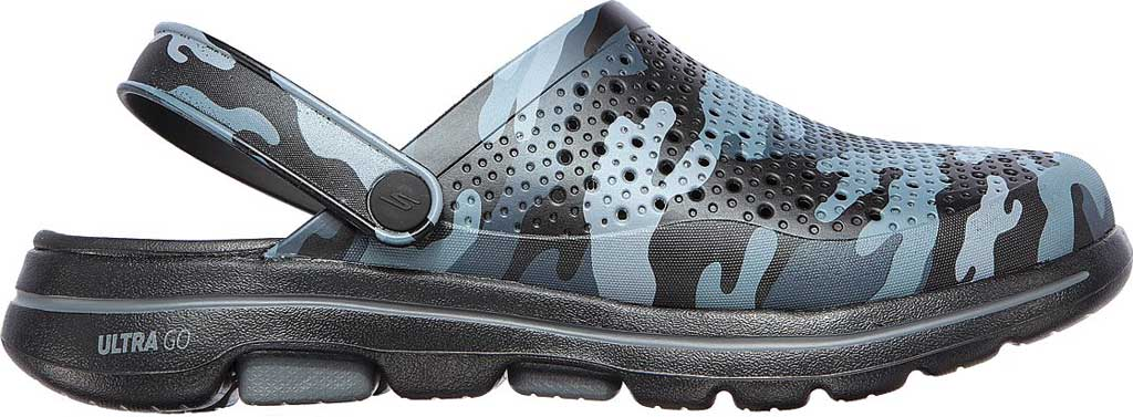 Men's Skechers Foamies GOwalk 5 Hideout Clog, Black/Gray, large, image 2