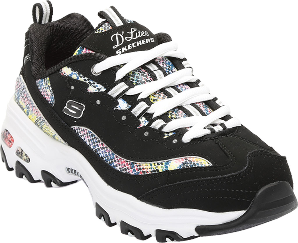 Women's Skechers D'Lites Smooth Glide Sneaker, Black/Multi, large, image 1