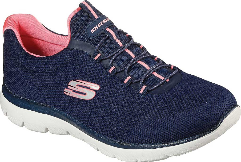 Women's Skechers Summits Cool Classic Sneaker, Navy/Pink, large, image 1