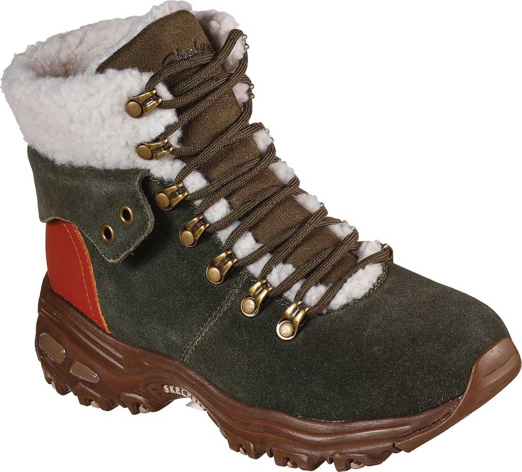 Women's Skechers D'Lites Winter Bliss Boot, Olive/Brown, large, image 1