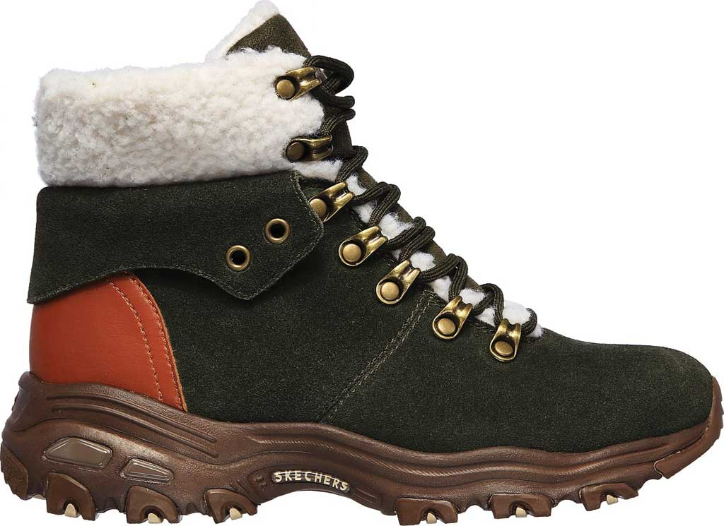 Women's Skechers D'Lites Winter Bliss Boot, Olive/Brown, large, image 2