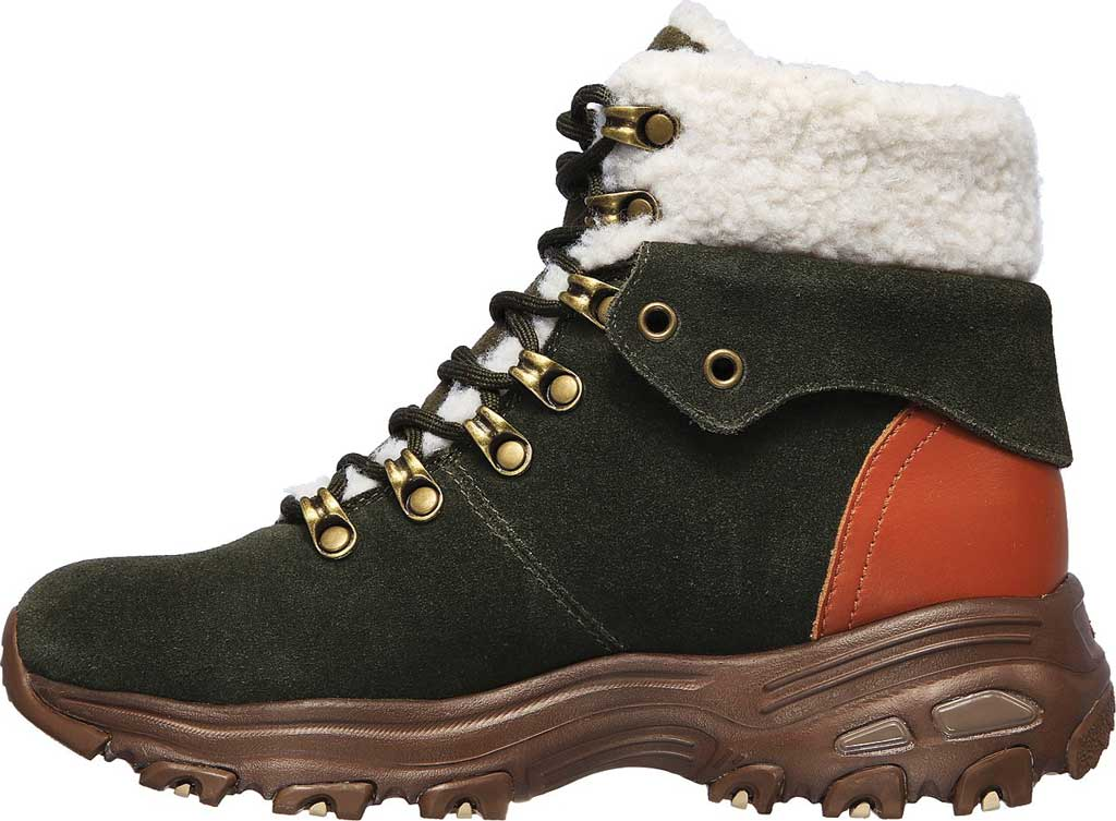 Women's Skechers D'Lites Winter Bliss Boot, Olive/Brown, large, image 3