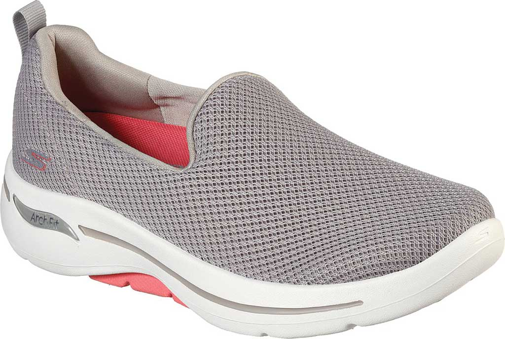 Women's Skechers GOwalk Arch Fit Grateful Slip On Sneaker, Taupe/Coral, large, image 1