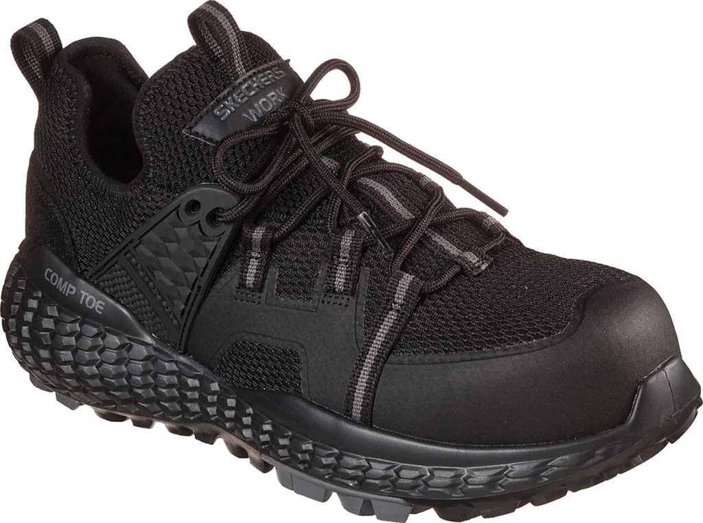 Men's Skechers Work Monster Comp Toe Sneaker, Black/Black, large, image 1