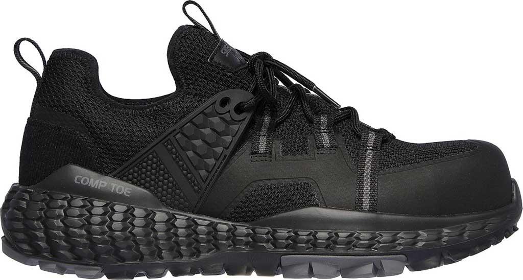 Men's Skechers Work Monster Comp Toe Sneaker, Black/Black, large, image 2