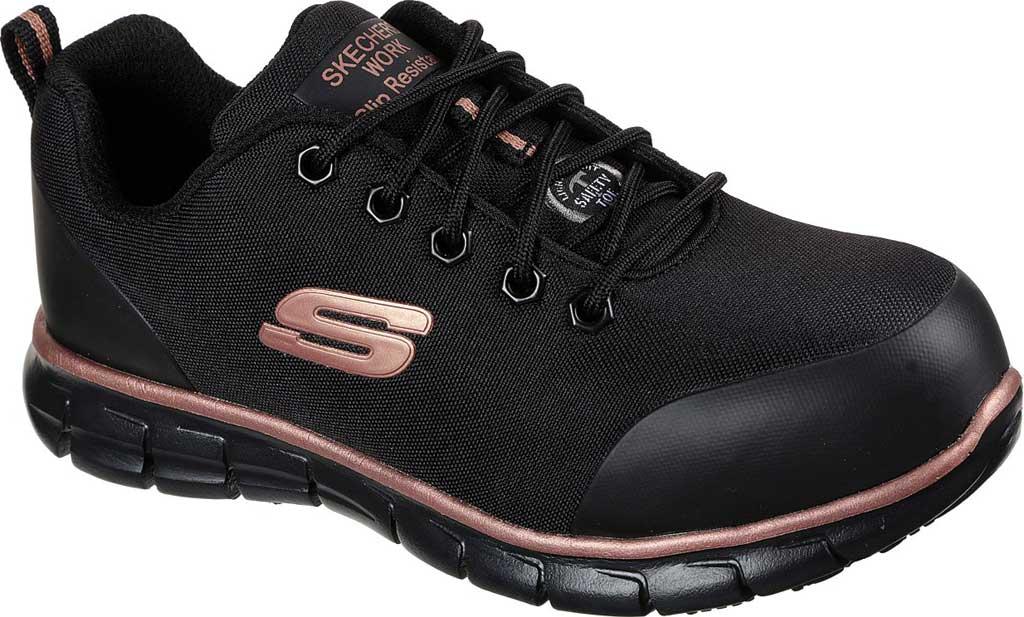 Women's Skechers Work Sure Track Chiton Alloy Toe Sneaker, Black/Rose Gold, large, image 1