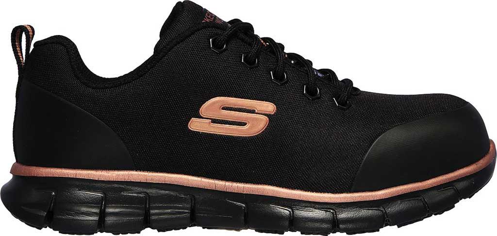 Women's Skechers Work Sure Track Chiton Alloy Toe Sneaker, Black/Rose Gold, large, image 2
