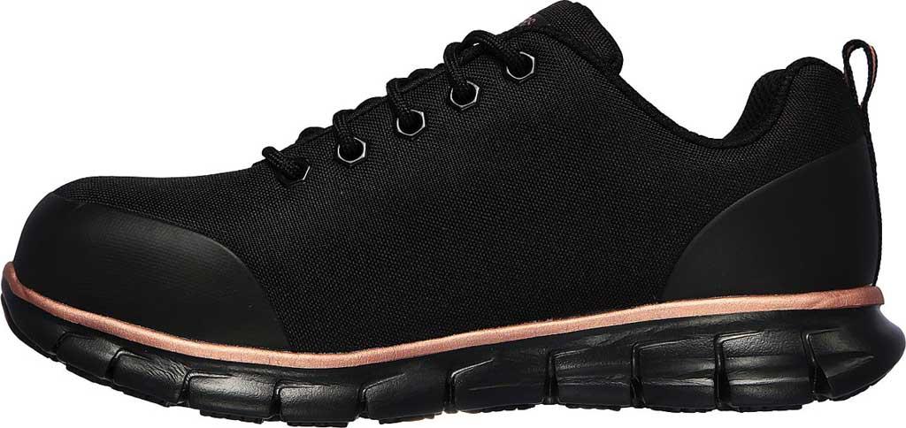 Women's Skechers Work Sure Track Chiton Alloy Toe Sneaker, Black/Rose Gold, large, image 3