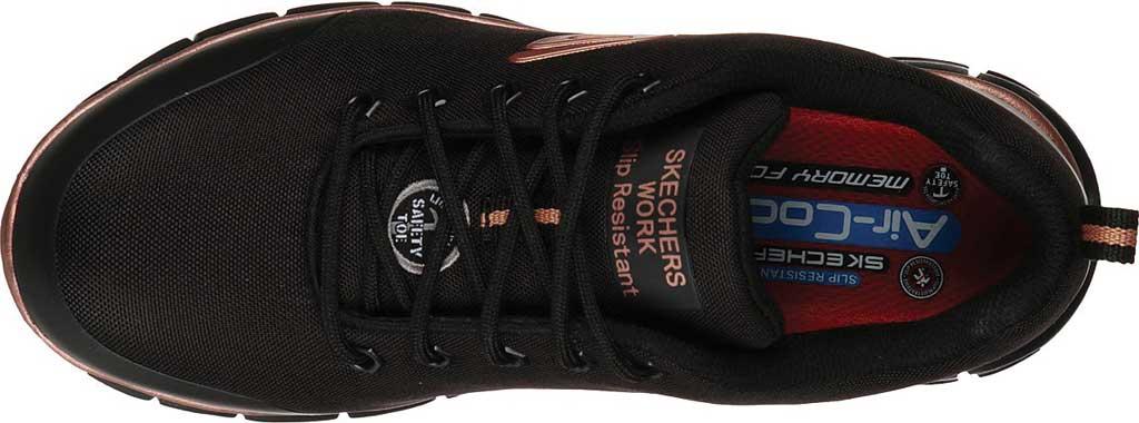 Women's Skechers Work Sure Track Chiton Alloy Toe Sneaker, Black/Rose Gold, large, image 4