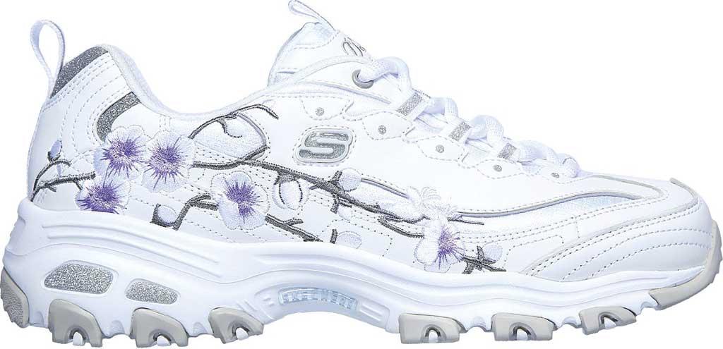 Women's Skechers D'Lites Soft Blossom Sneaker, White/Lavender, large, image 2