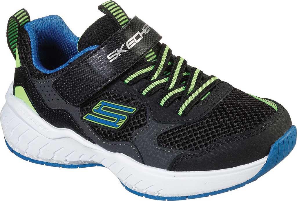 Boys' Skechers Power Sonic Anorzo Sneaker, Black/Blue/Lime, large, image 1