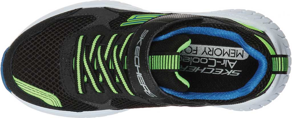 Boys' Skechers Power Sonic Anorzo Sneaker, Black/Blue/Lime, large, image 4