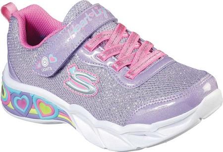 Girls' Skechers S Lights Sweetheart Lights Shimmer Spells Sneaker, Lavender/Multi, large, image 1