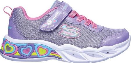 Girls' Skechers S Lights Sweetheart Lights Shimmer Spells Sneaker, Lavender/Multi, large, image 2