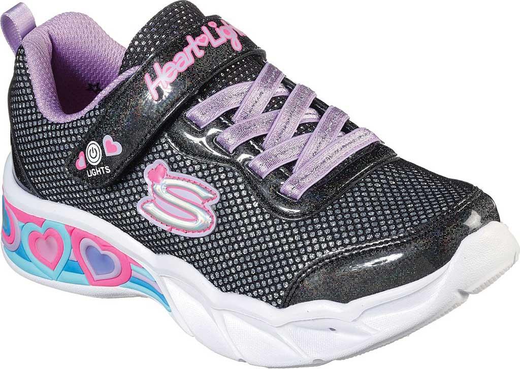 Girls' Skechers S Lights Sweetheart Lights Shimmer Spells Sneaker, Black/Multi, large, image 1