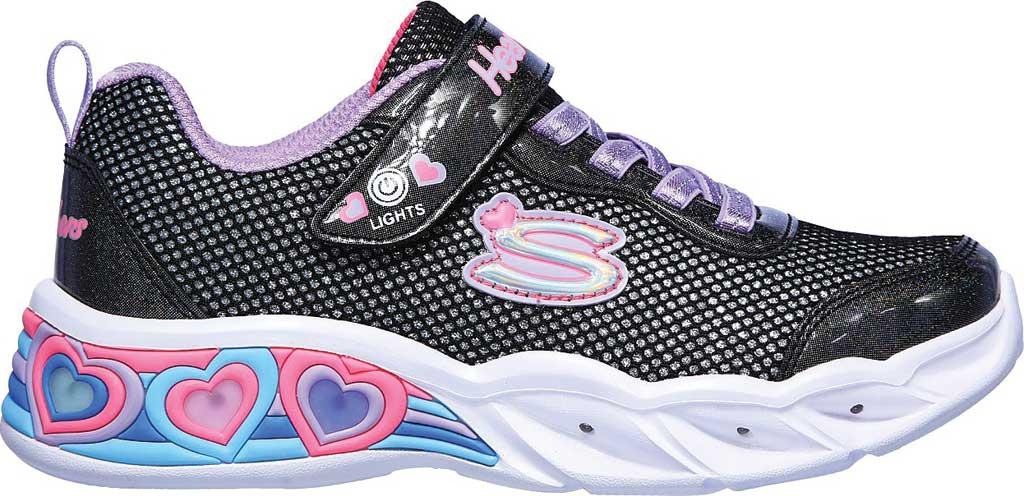 Girls' Skechers S Lights Sweetheart Lights Shimmer Spells Sneaker, Black/Multi, large, image 2